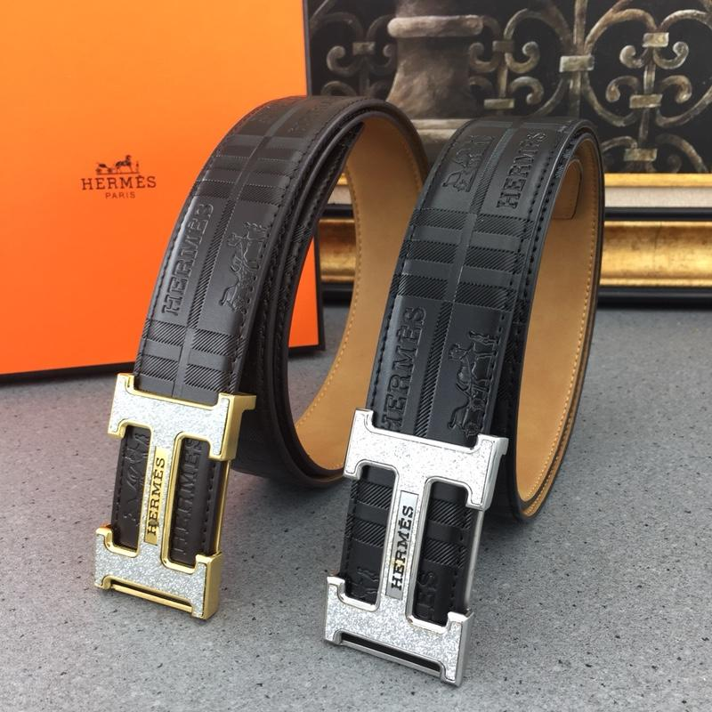 Hermes Reversible Leather Men Belt With Gold Buckle 024