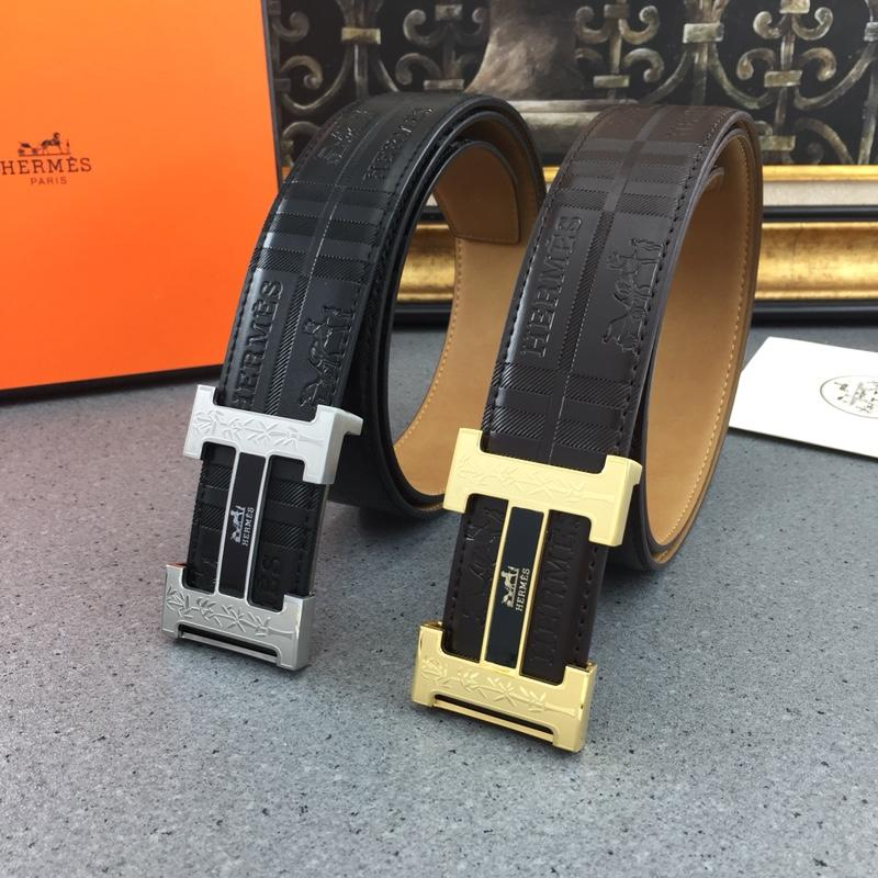 Hermes Reversible Leather Men Belt With Gold Buckle 025