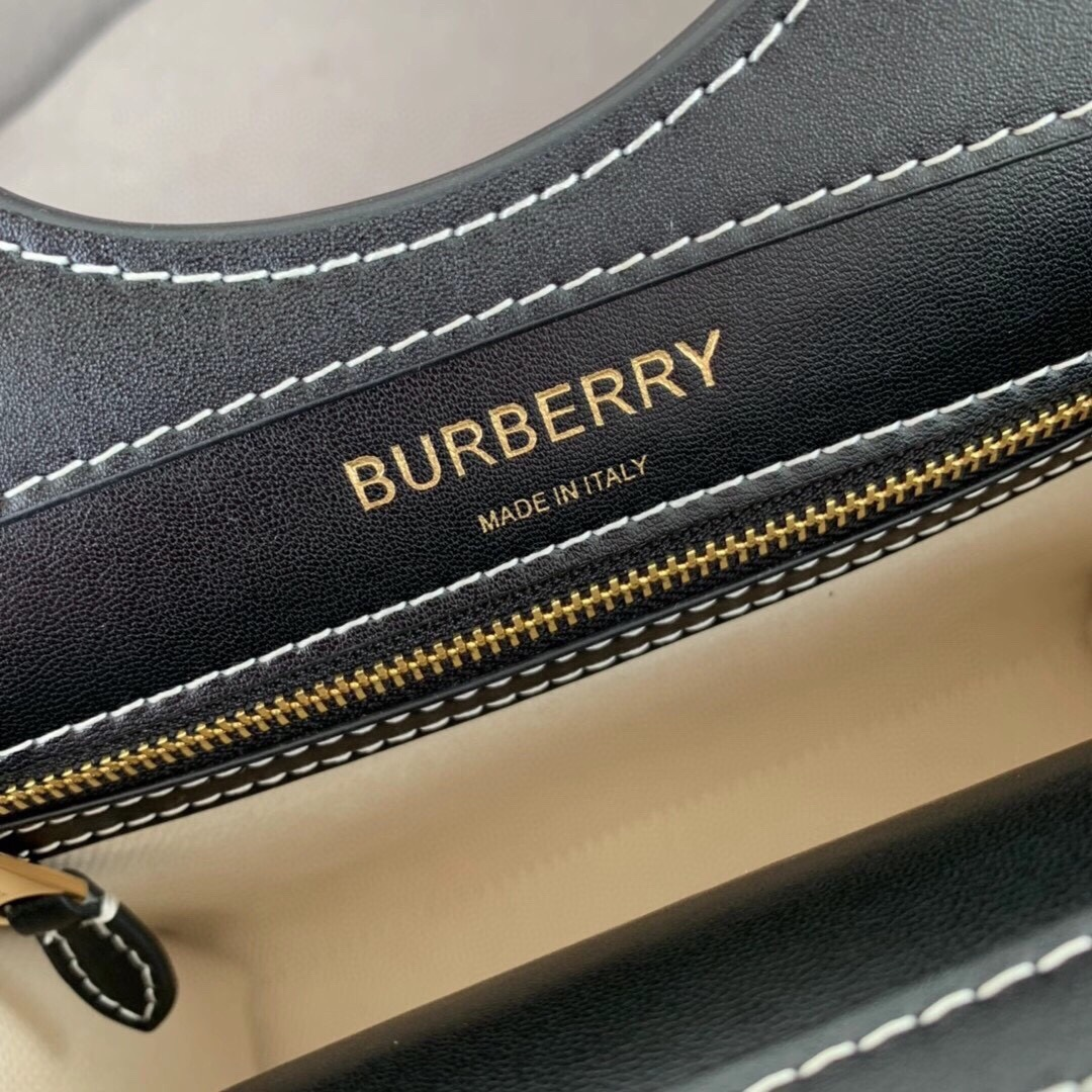 High End Burberry Logo Graphic Canvas and Leather Pocket Bag Black