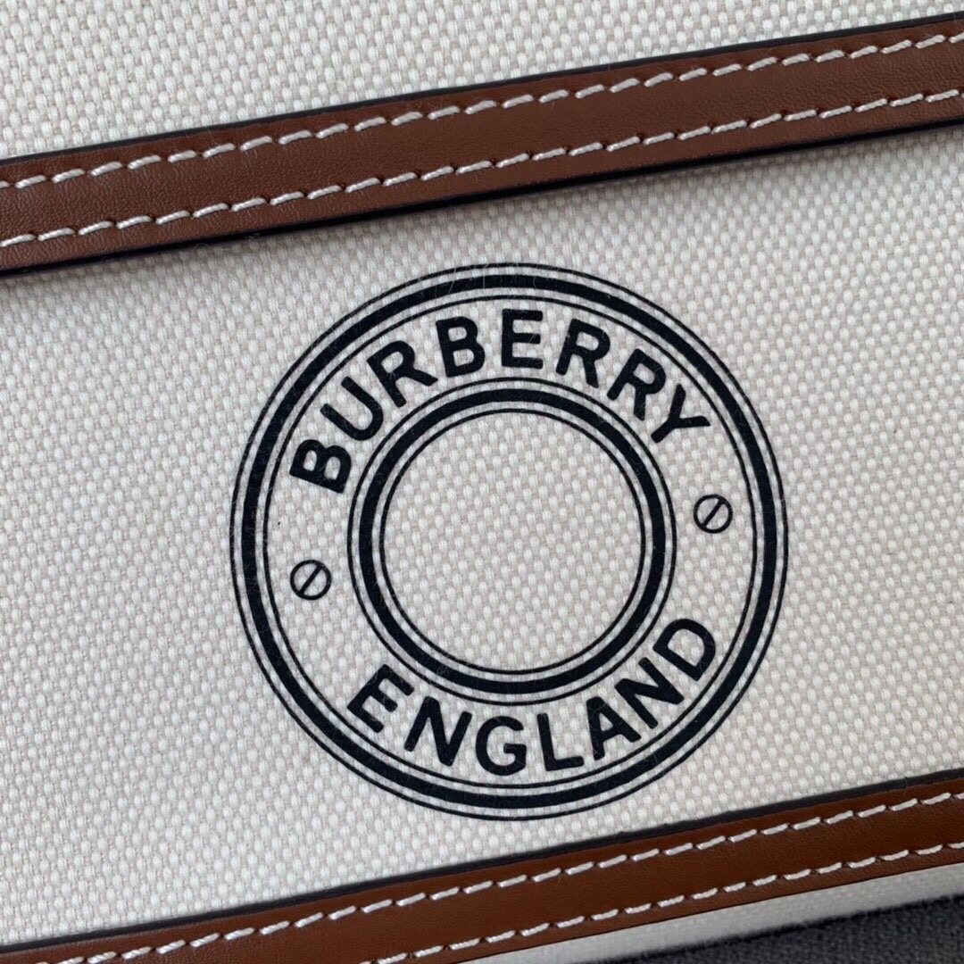 High End Burberry Logo Graphic Canvas and Leather Pocket Bag Brown