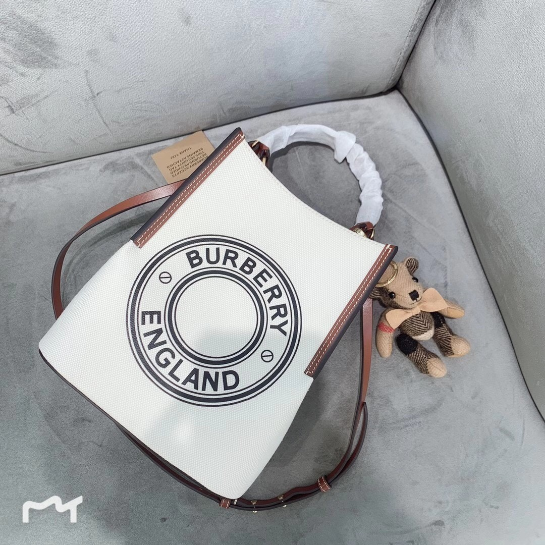 High End Burberry Small Logo Graphic Cotton Canvas Peggy Bucket Bag Brown