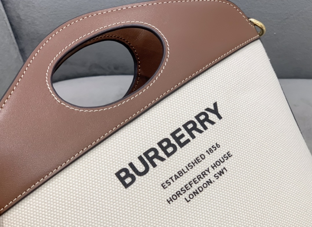 High End Burberry Small Two-tone Canvas and Leather Pocket Bucket Bag Brown