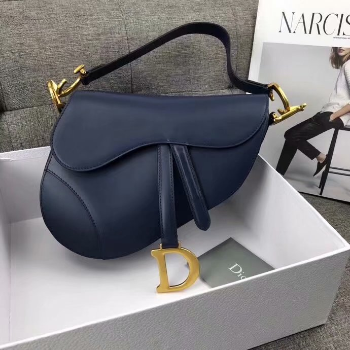 High Quality Dior Mini Saddle Bag in Blue Calfskin
