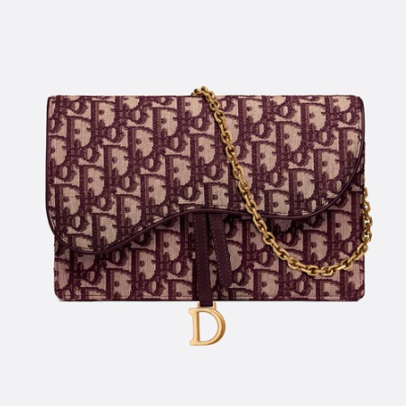 High Quality Dior Oblique Large Saddle Wallet on Chain Clutch in Burgundy