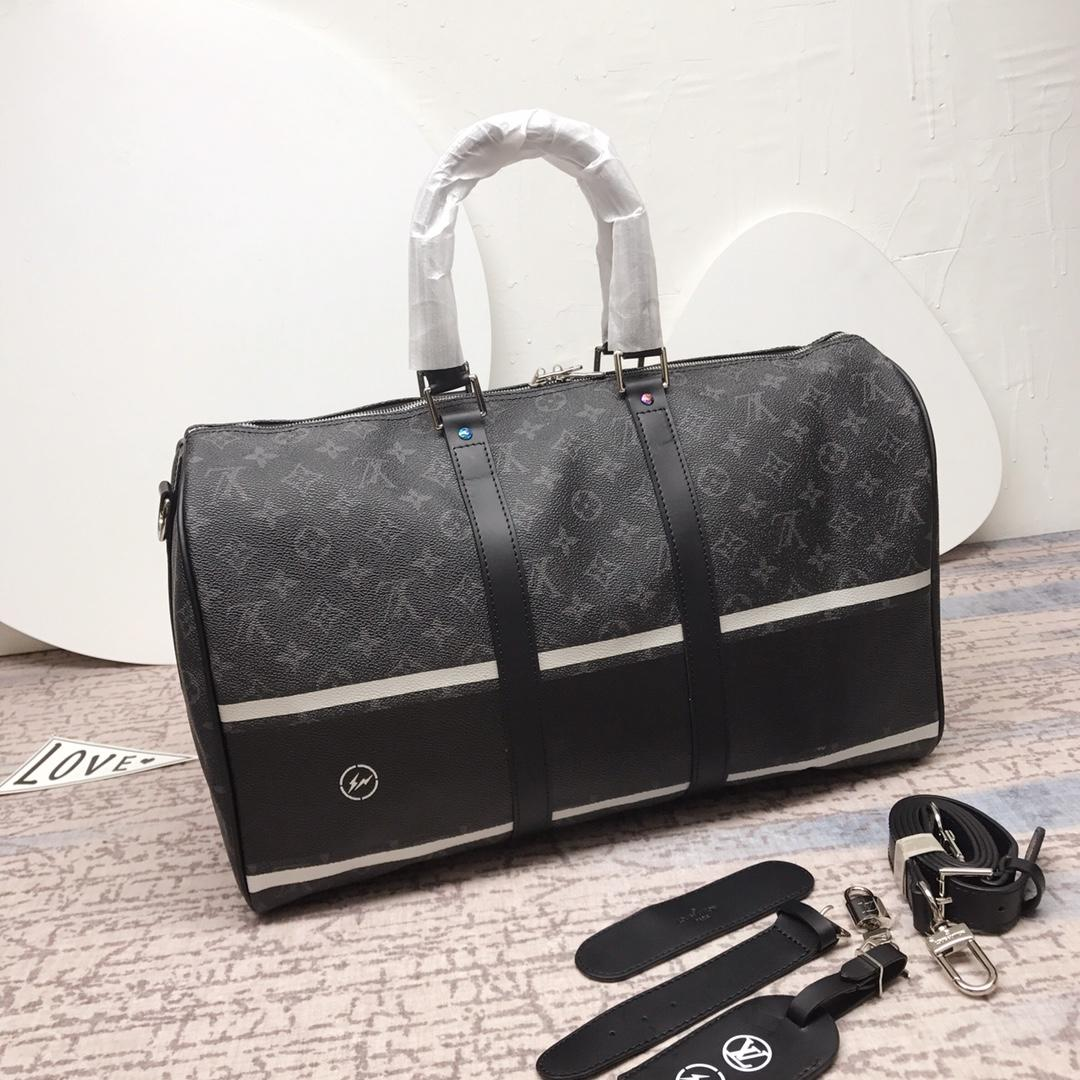 Louis Vuitton M43413 Keepall 45 Bandouliere Monogram Eclipse Coated Canvas