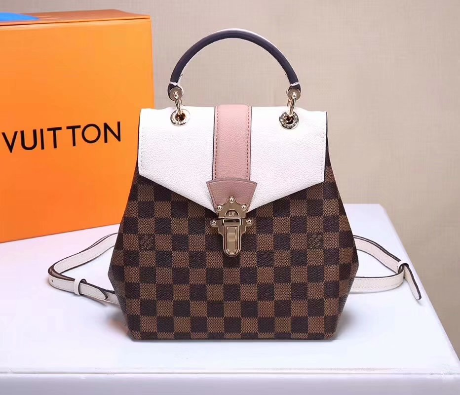 Louis Vuitton N42259 Clapton Women Backpack Damier Ebene Canvas and Cowhide Leather Creme Online Shop