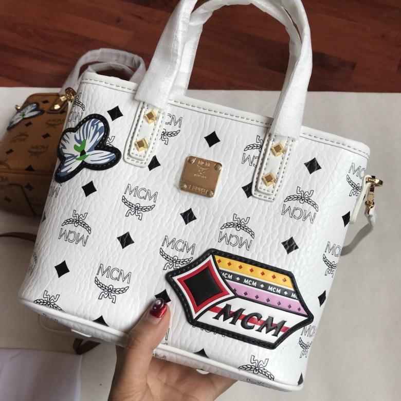 MCM Patricia Victory Patch Visetos Women Shopping Bag White