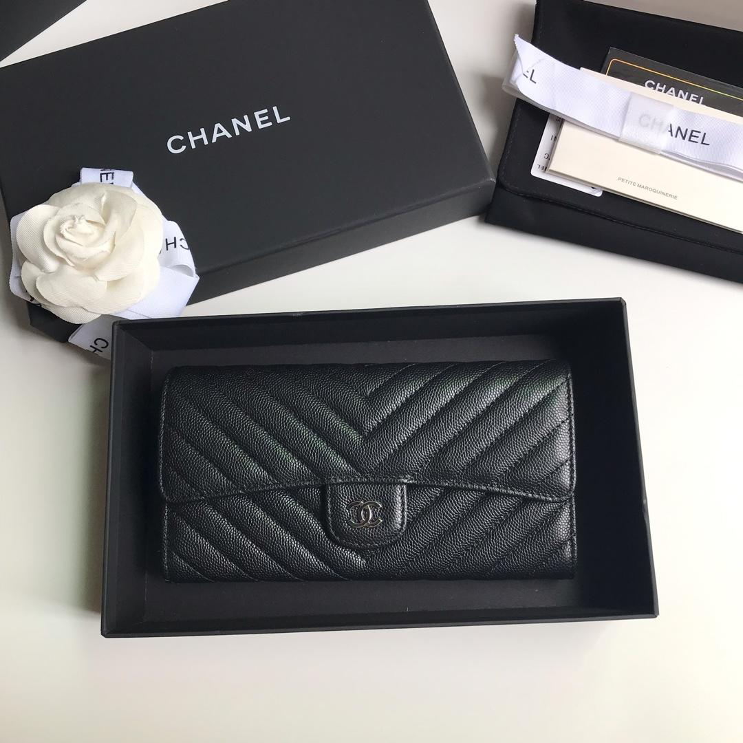NEW Replica Chanel A80758 Classics Flap Long Wallet Caviar Quilted Genuine Leather Silver Tone Metal