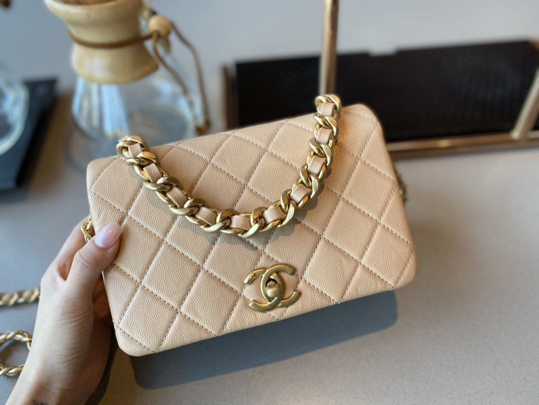 NEW Replica Chanel AS1895 Flap Bag Beige Cow Leather Gold-Tone Metal