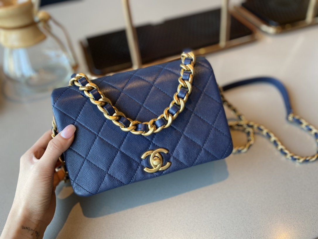 NEW Replica Chanel AS1895 Flap Bag Blue Cow Leather Gold-Tone Metal