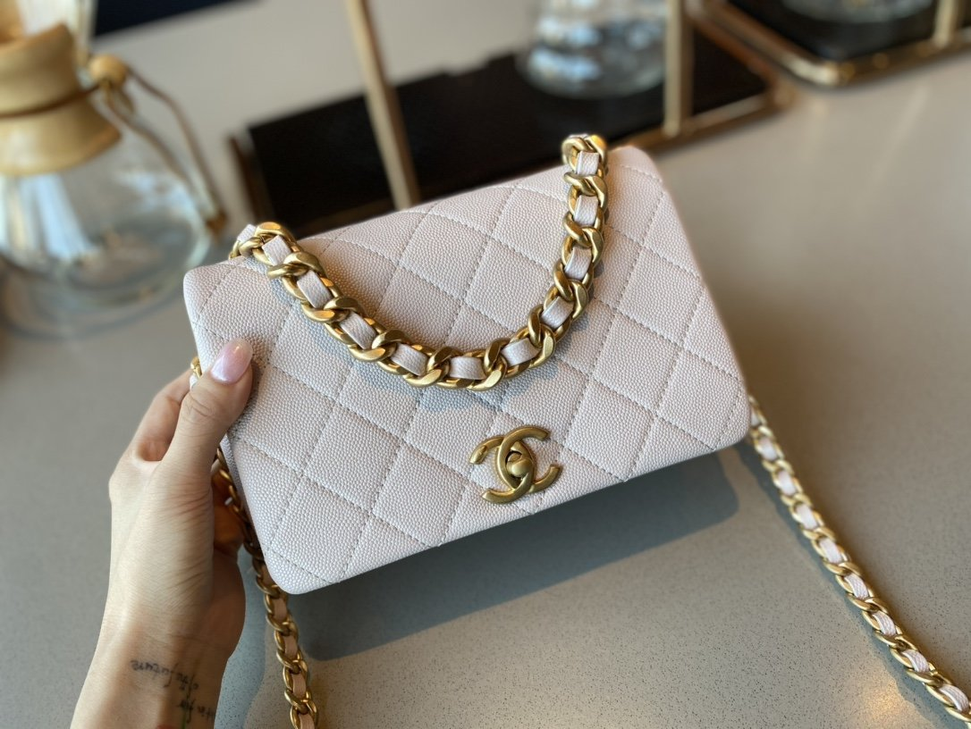NEW Replica Chanel AS1895 Flap Bag White Cow Leather Gold-Tone Metal