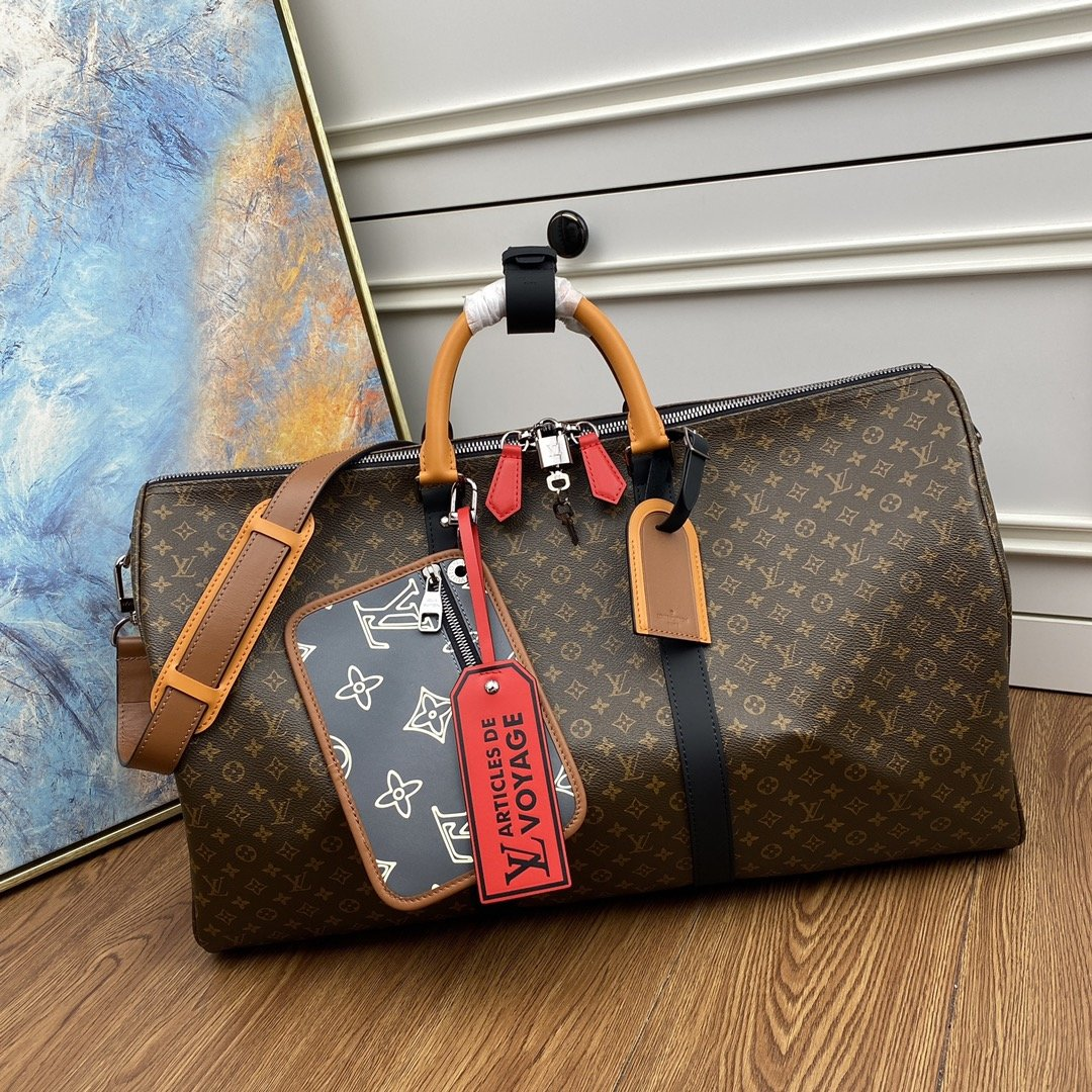 NEW Replica Louis Vuitton M56855 Keepall Bandouliere 50 Monogram Coated Canvas and Cowhide Leather