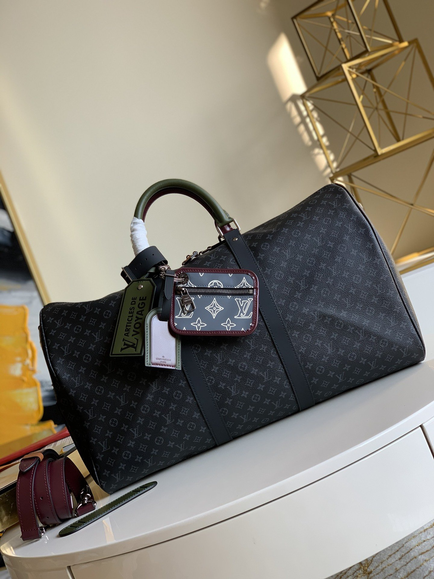 NEW Replica Louis Vuitton M56856 Keepall Bandouliere 50 Monogram Eclipse Coated Canvas and Cowhide Leather