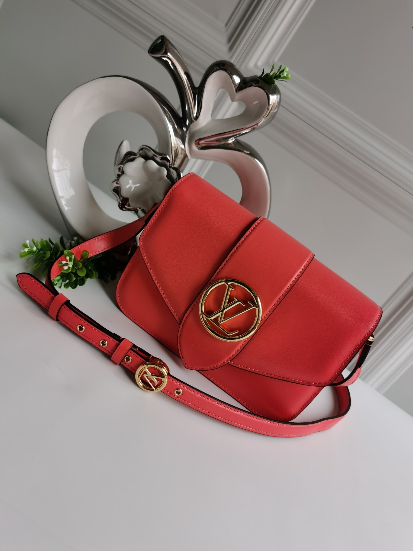 NEW Replica Louis Vuitton Pont 9 Handbag Smooth Leather Red