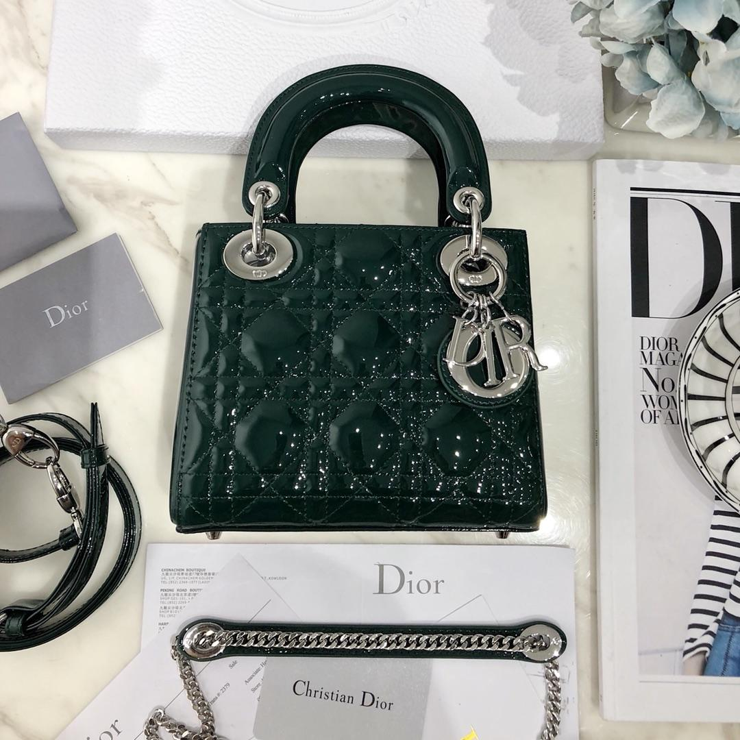 NEW Replica Mini Lady Classic Dior Green Calfskin Bag with Chain in Light Silver Tone Metal