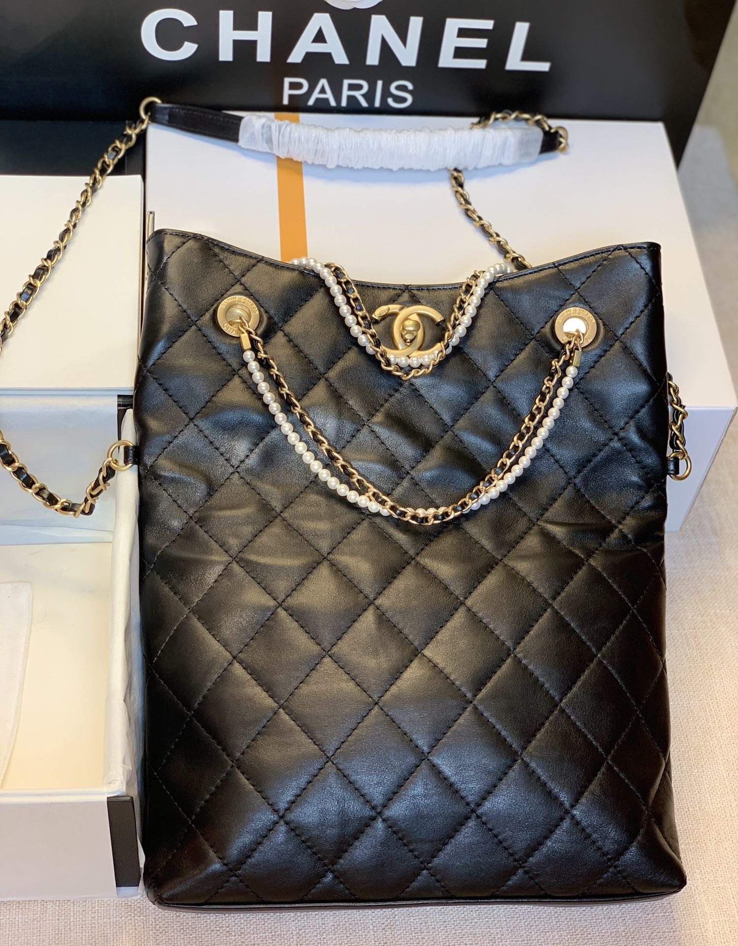 NEW replica Chanel AS2213 Shopping Bag Calfskin, Crystal Pearls Gold-Tone Metal Black