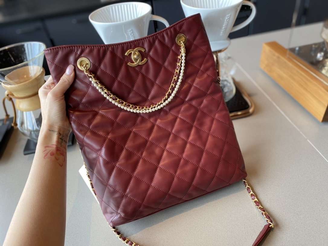 NEW replica Chanel AS2213 Shopping Bag Calfskin, Crystal Pearls Gold-Tone Metal Dark Red