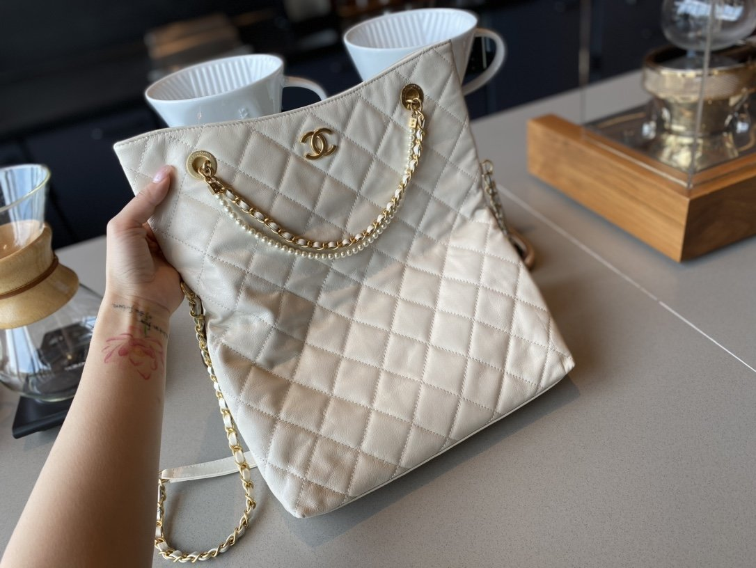 NEW replica Chanel AS2213 Shopping Bag Calfskin, Crystal Pearls Gold-Tone Metal White