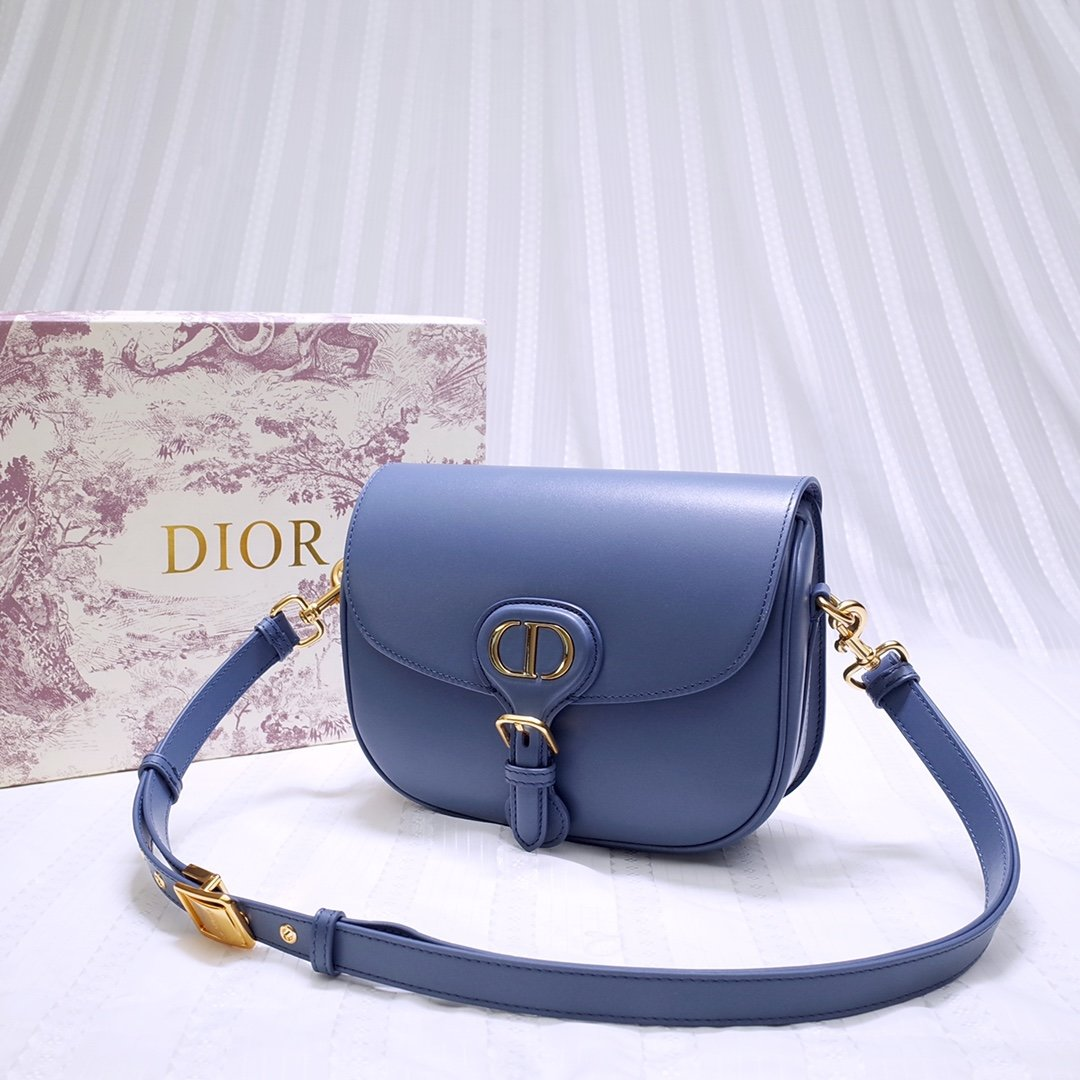 New Replcia Dior Medium Dior Bobby Bag Denim Blue Box Calfskin