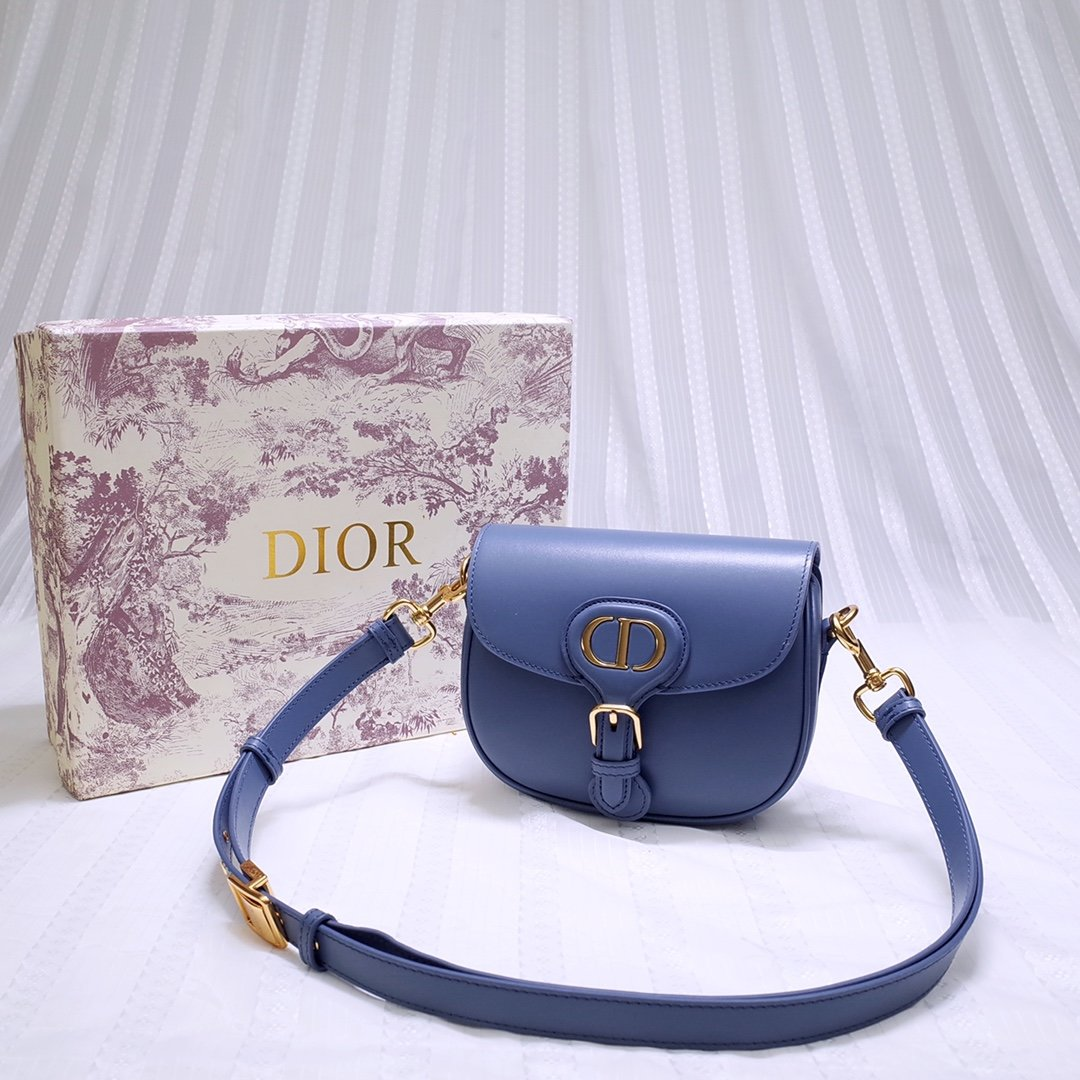 New Replcia Dior Small Dior Bobby Bag Denim Blue Box Calfskin