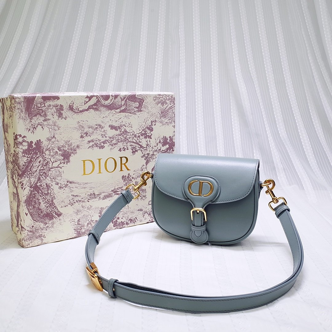 New Replcia Dior Small Dior Bobby Bag Gray Box Calfskin