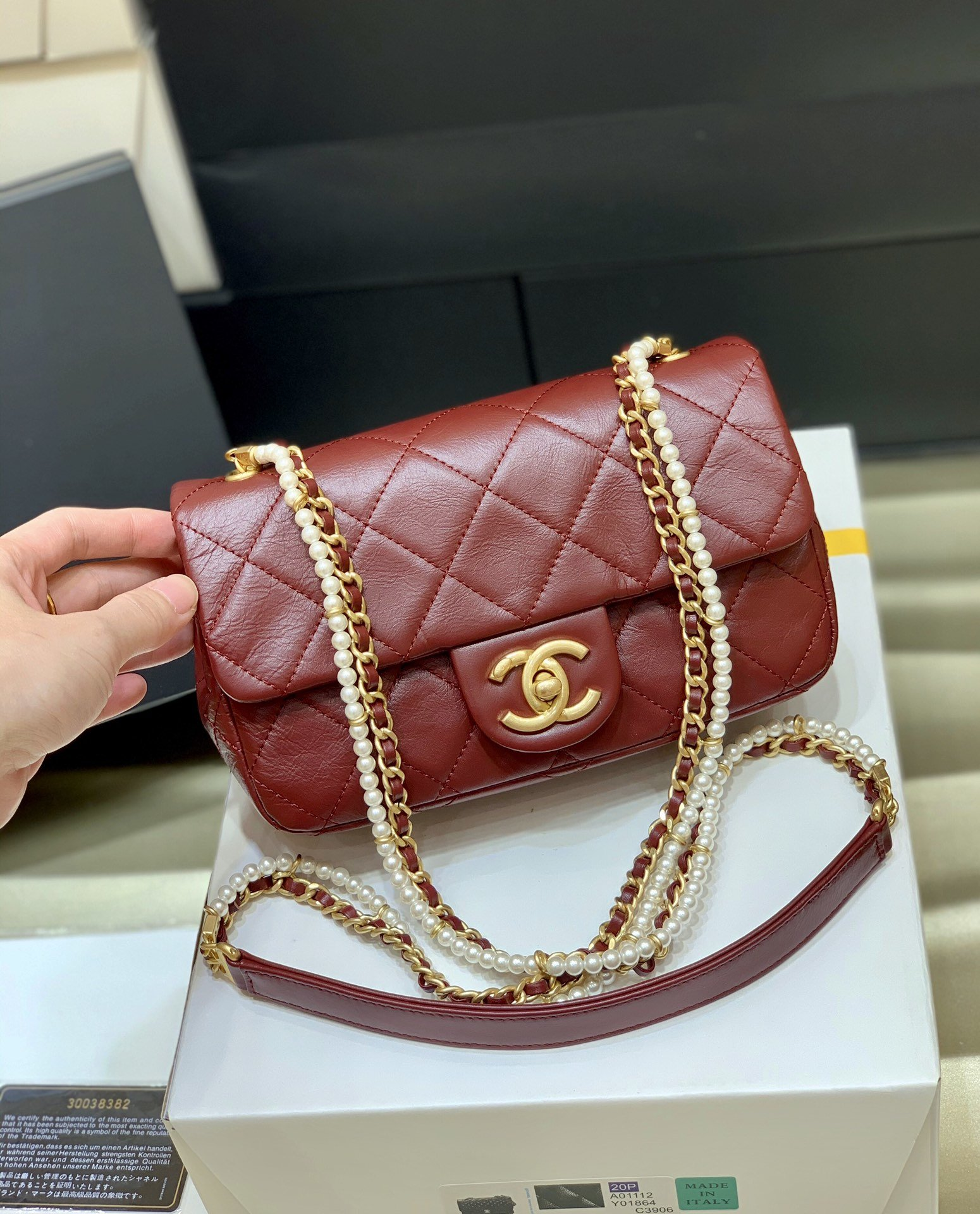 New Replica Chanel AS2210 Flap Bag Calfskin Crystal Pearls Gold-Tone Metal Red
