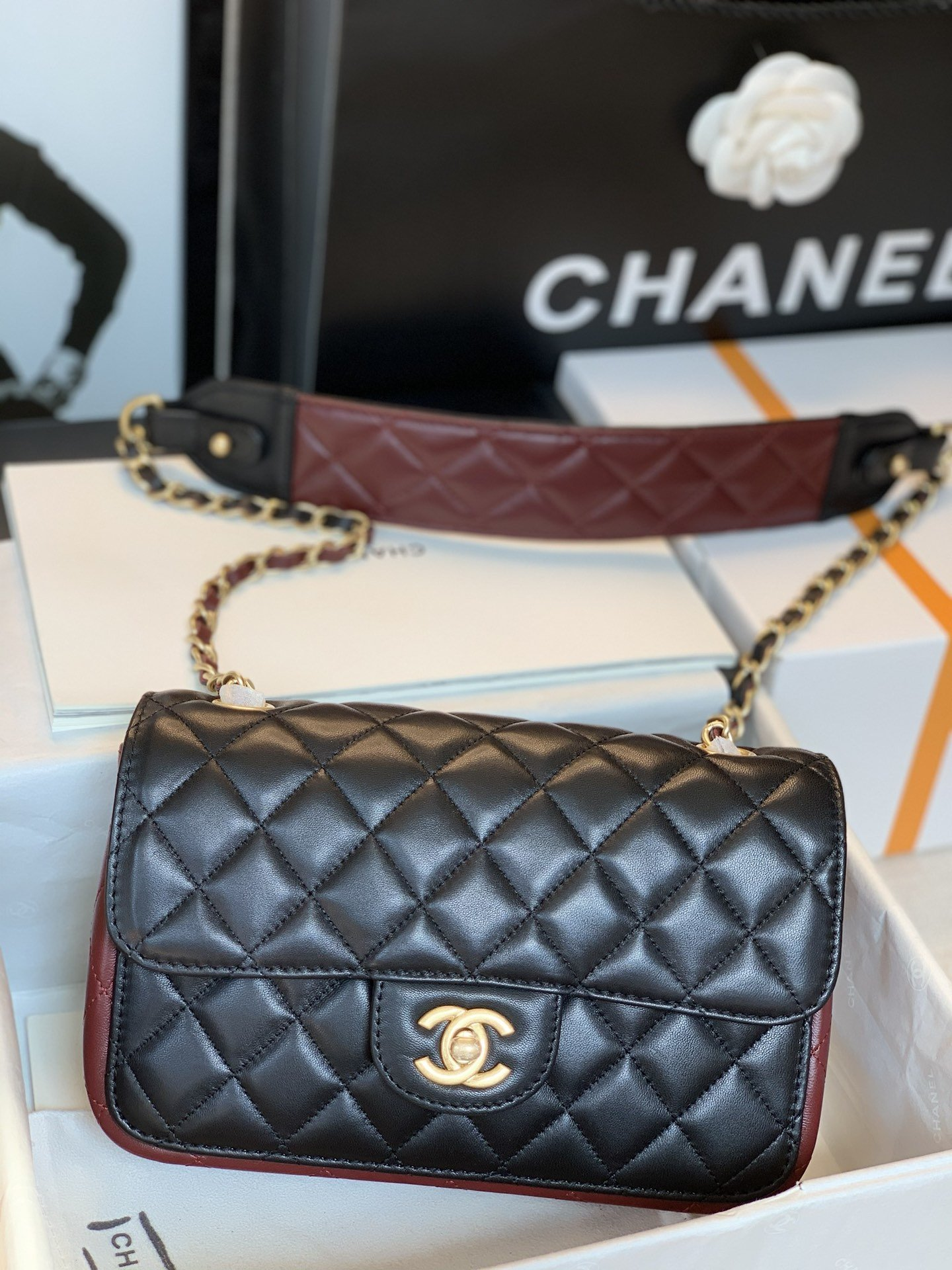 New Replica Chanel AS2228 Small Flap Bag Calfskin Gold-Tone Metal Black Brown