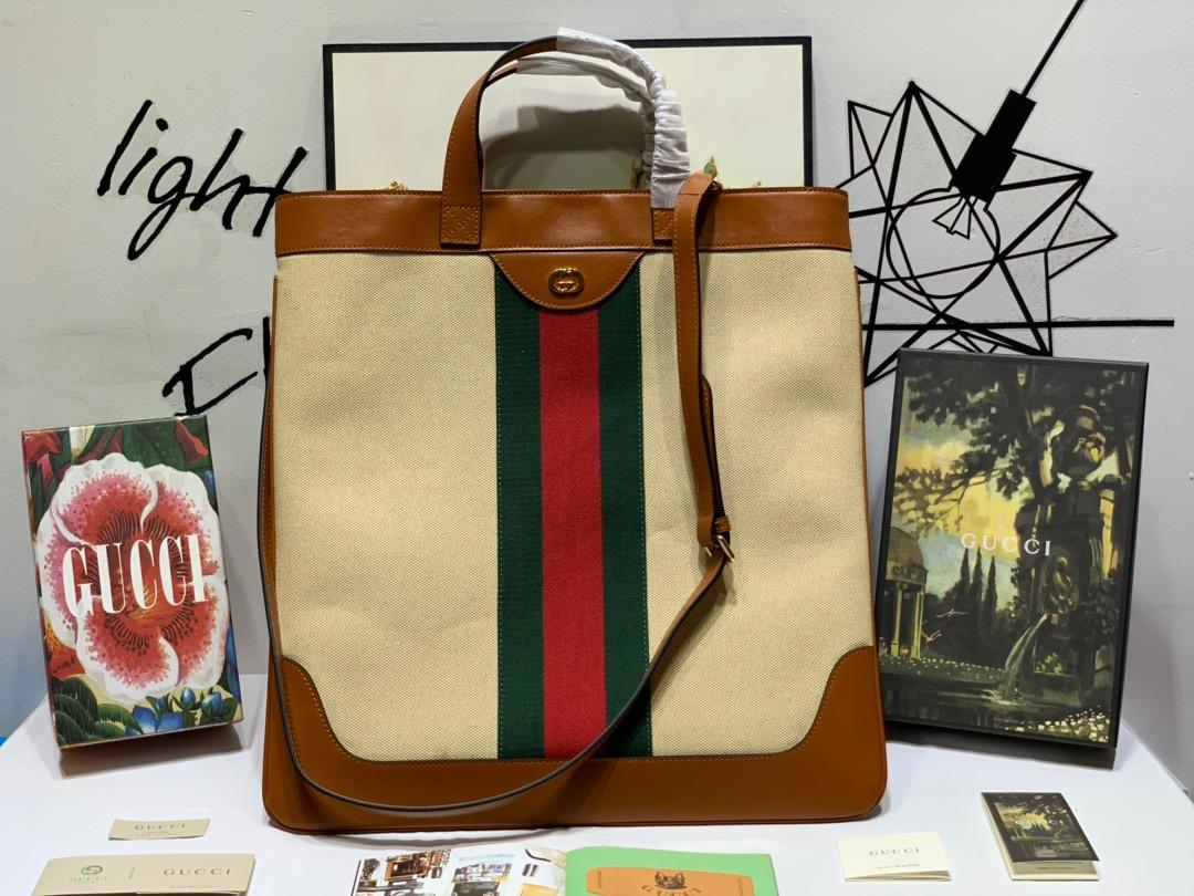 New Replica Gucci 575067 Women Large Vintage Canvas Tote
