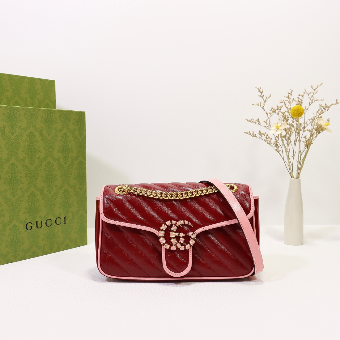 New Replica Gucci GG Beloved Marmont Shoulder Bag Red 26cm