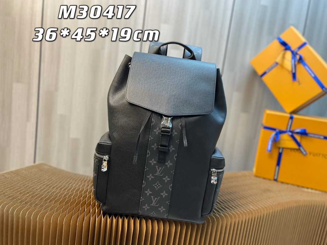 New Replica Louis Vuitton M30417 Mens Outdoor Backpack Pairs Taiga Leather with Monogram Eclipse Canvas