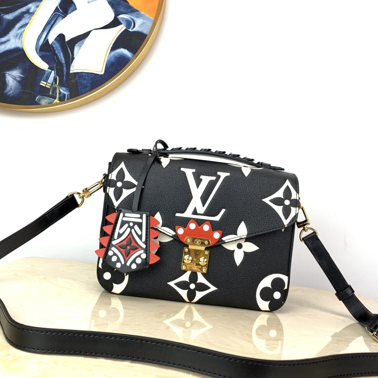 New Replica Louis Vuitton M45385 LV Crafty Pochette Metis Embossed Grained Cowhide Leather