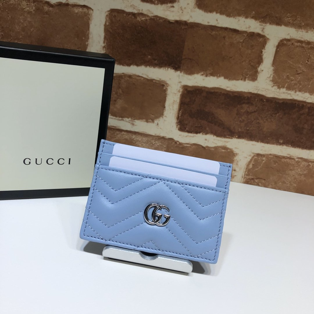 Origianl Copy Gucci 443127 GG Marmont Women Card Case Blue Leather