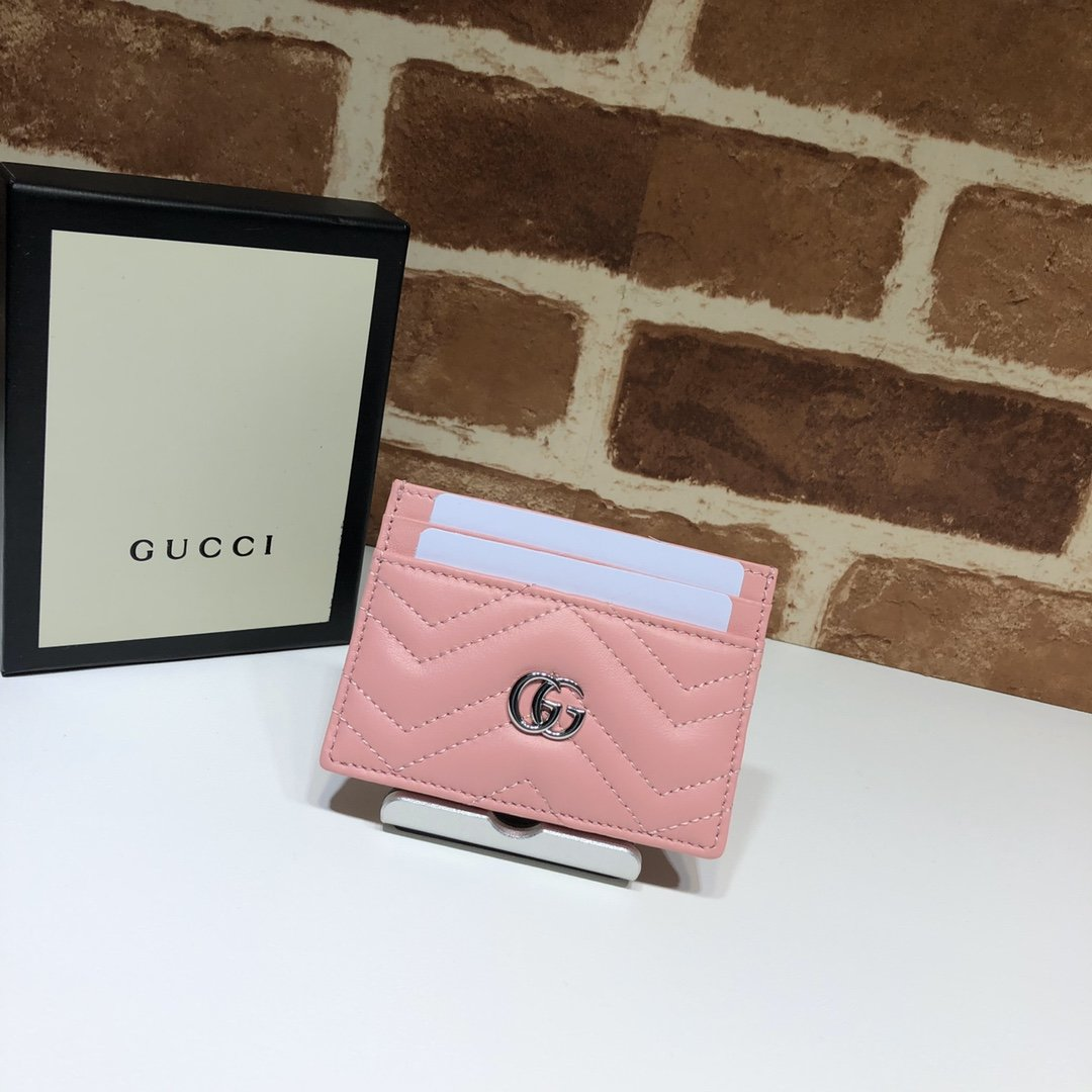 Origianl Copy Gucci 443127 GG Marmont Women Card Case Pink Leather