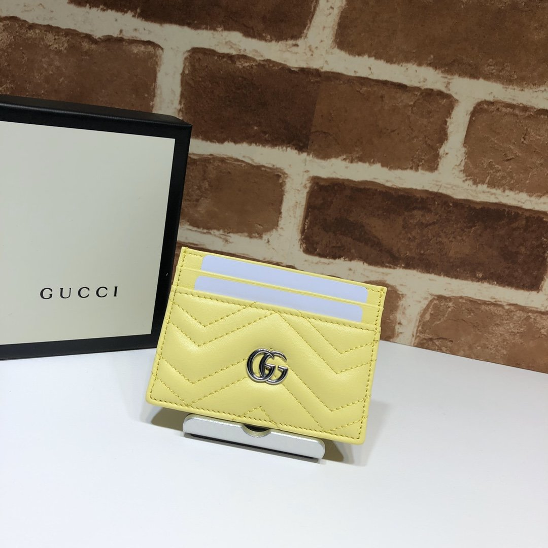 Origianl Copy Gucci 443127 GG Marmont Women Card Case Yellow Leather