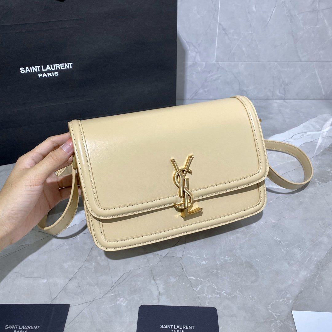 Original Copy Box Saint Laurent Leather SOLFERINO Medium Satchel Beige