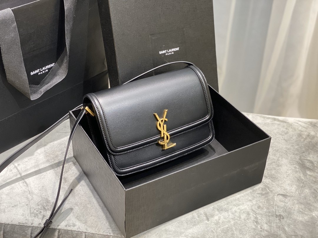 Original Copy Box Saint Laurent Leather SOLFERINO Medium Satchel Black