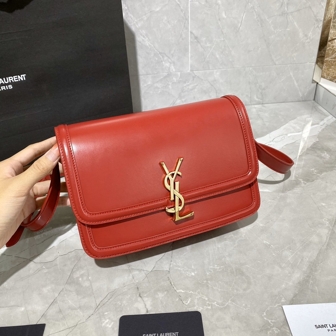 Original Copy Box Saint Laurent Leather SOLFERINO Medium Satchel Red