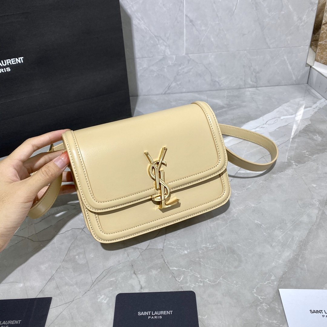 Original Copy Box Saint Laurent Leather SOLFERINO Small Satchel Beige