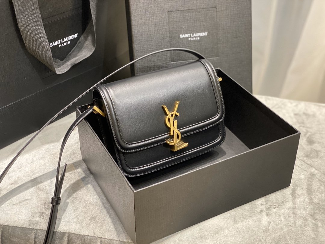 Original Copy Box Saint Laurent Leather SOLFERINO Small Satchel Black