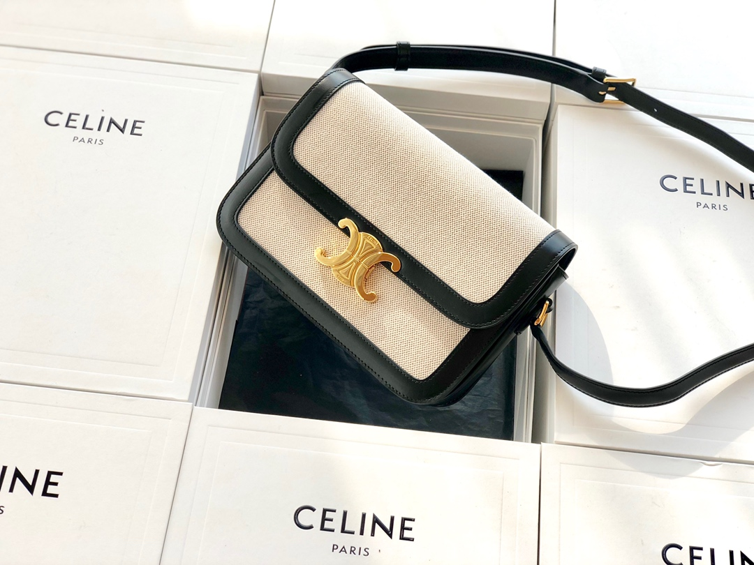 Original Copy Celine Medium Teen Triomphe Bag in Textile and Black Natural Calfskin