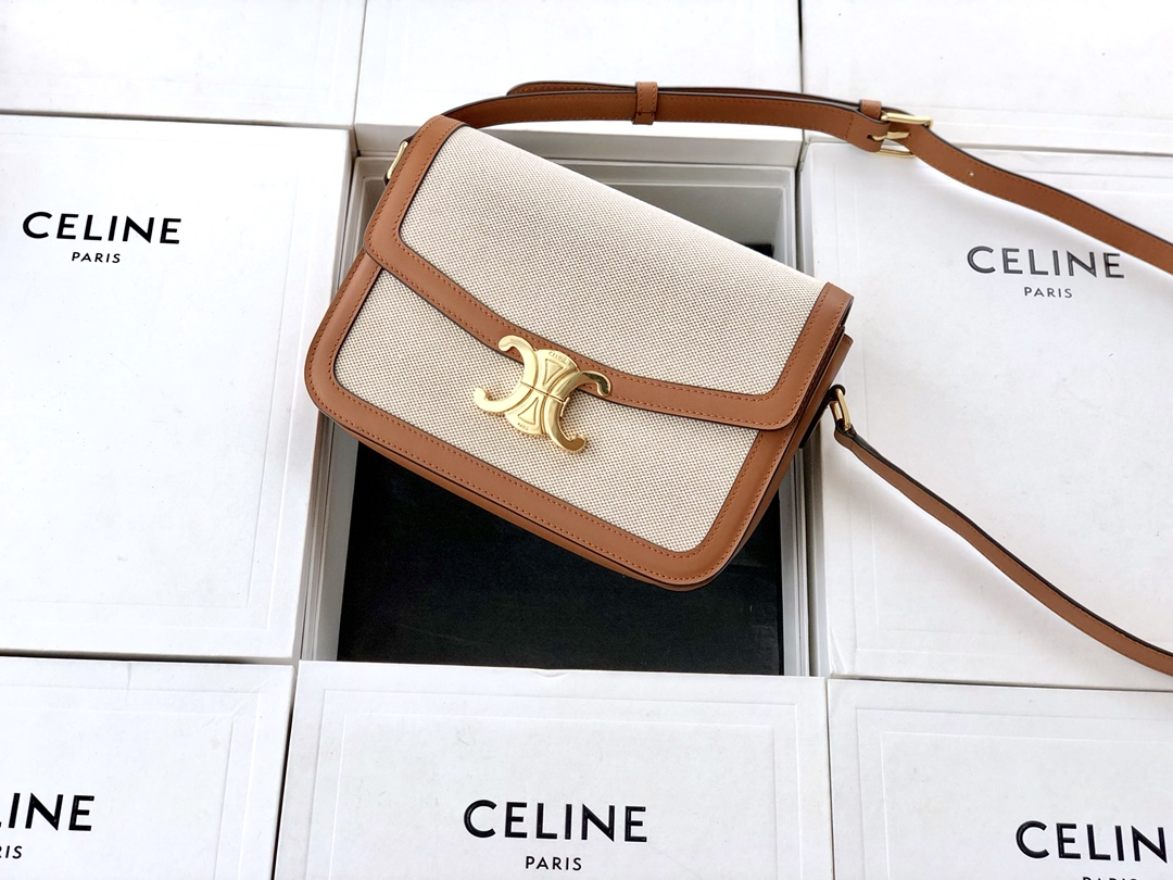 Original Copy Celine Medium Teen Triomphe Bag in Textile and Natural Calfskin
