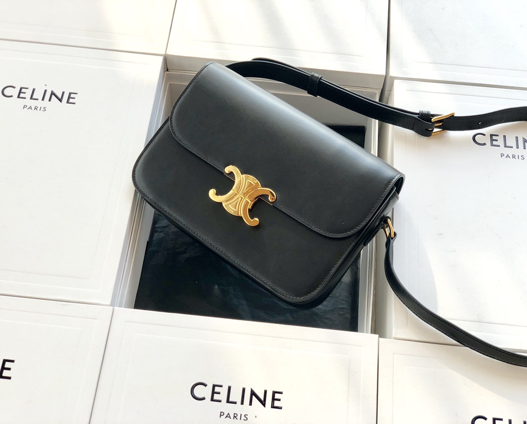 Original Copy Celine Medium Triomphe Bag in Shiny Calfskin Black