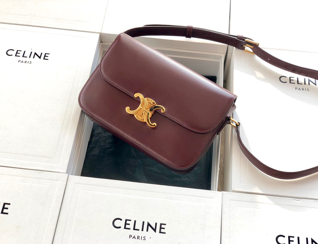 Original Copy Celine Medium Triomphe Bag in Shiny Calfskin Dark Red