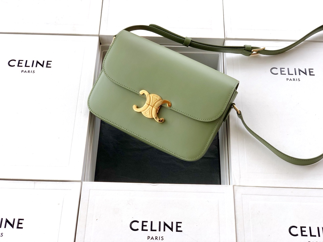 Original Copy Celine Medium Triomphe Bag in Shiny Calfskin Green
