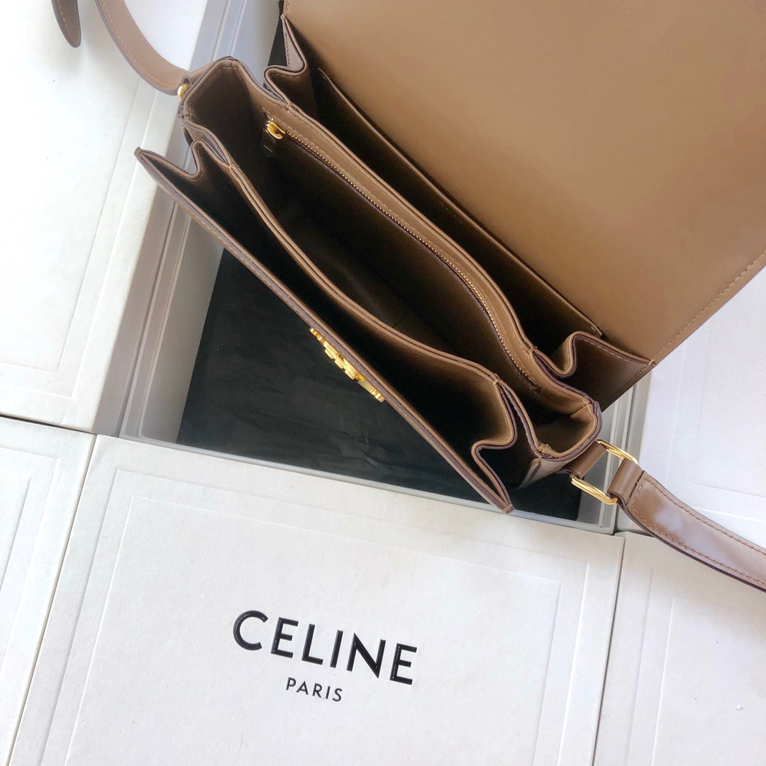 Original Copy Celine Medium Triomphe Bag in Shiny Calfskin Khaki