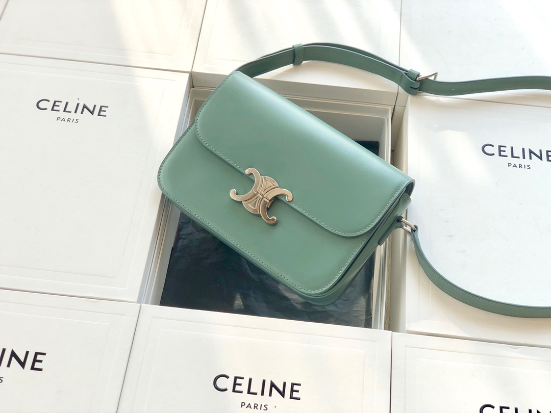 Original Copy Celine Medium Triomphe Bag in Shiny Calfskin Light Green