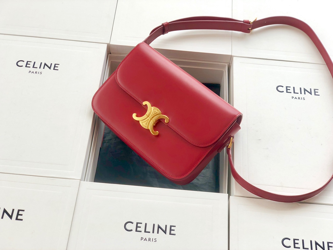 Original Copy Celine Medium Triomphe Bag in Shiny Calfskin Red