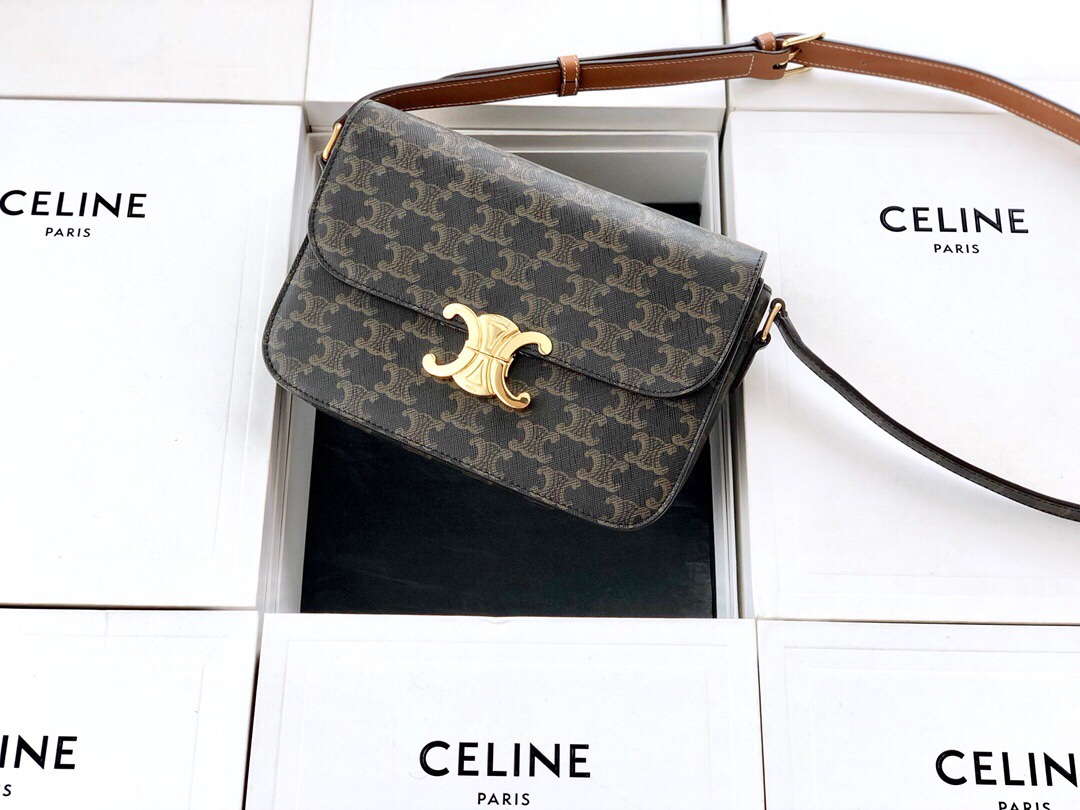 Original Copy Celine Medium Triomphe Bag in Triomphe Canvas and Calfskin