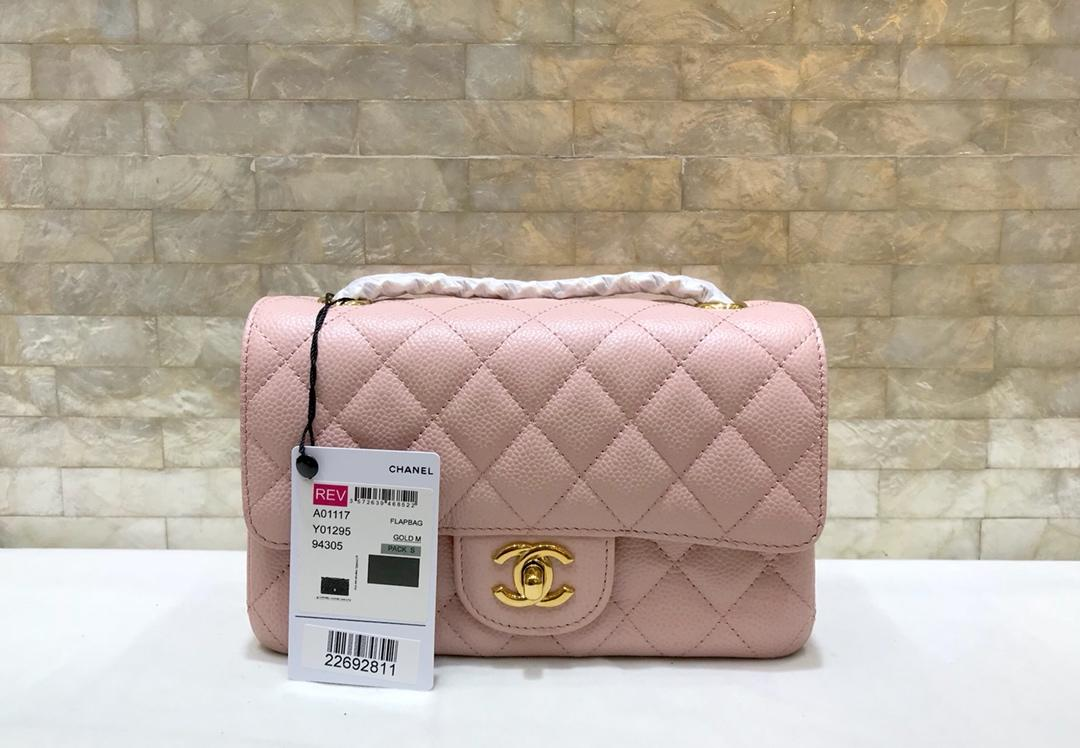 Original Copy Chanel 1112 1115 1117 Classics CF Flap Bag Caviar Quilted Genuine Leather Pink Gold Hardware
