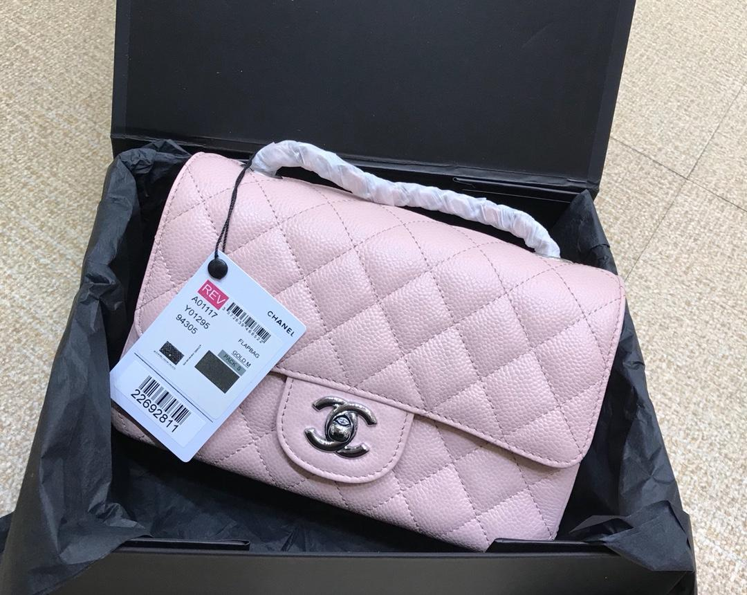 Original Copy Chanel 1112 1115 1117 Classics CF Flap Bag Caviar Quilted Genuine Leather Pink Silver Hardware